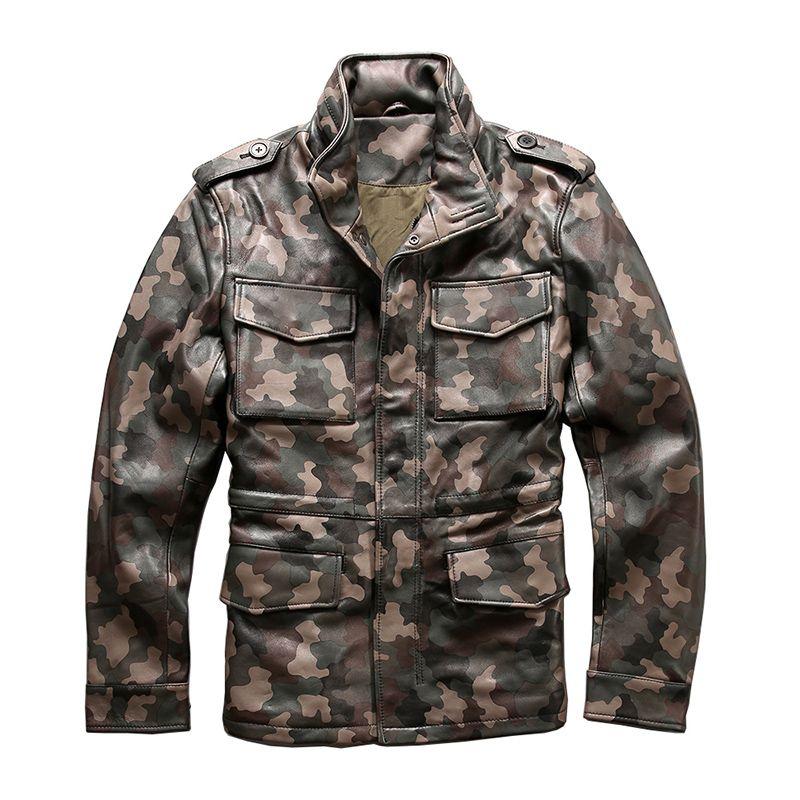 Lesen Beschreibung! Asiatische größe Armee camouflage mantel echte schafe leder M65 oberbekleidung mens schafe leder reiter jacke 2133