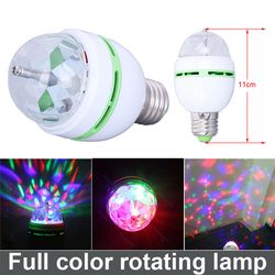 3W E27 RGB Full Color LED Bulb Crystal Auto Rotating Stage Effect DJ Disco Light Bulb Mini laser party Stage Light Free Shipping