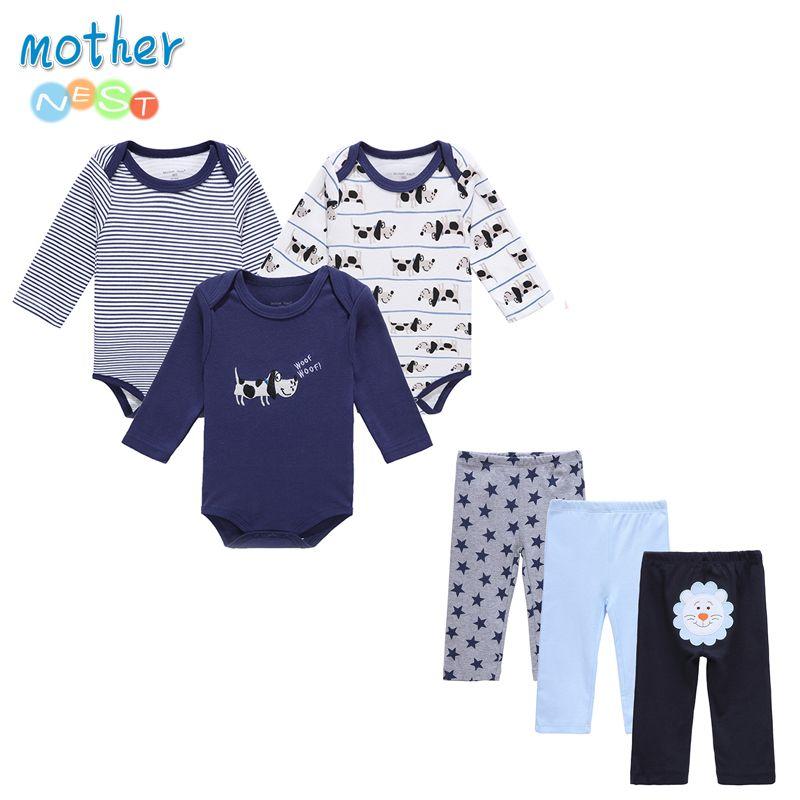 6 pcs/lot mother nest bébé garçon vêtements nouveau-né enfant en bas âge infantile 0-12 automne/printemps bébé barboteuses + bébé pantalon bébé vêtements ensembles