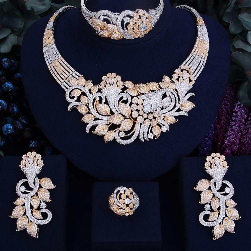 GODKI Famous Brand Luxury Shinning Flower Leaf Women Wedding Naija Bridal Cubic Zirconia Necklace Dubai Dress Jewelry Set