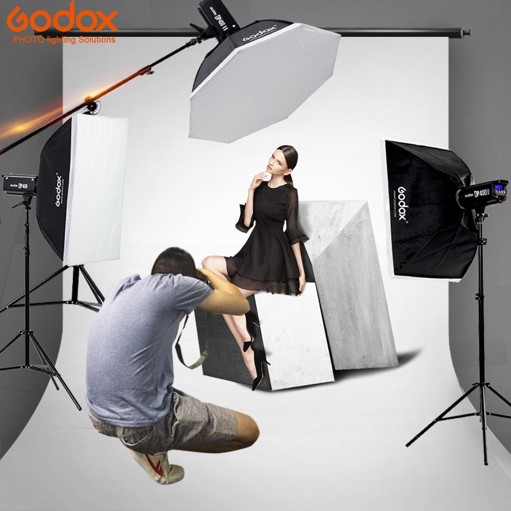 Godox Photo Studio light 3xDP400 400WS strobe Flash Photography Softbox Light Stand Kits for Wedding, Food Blogging