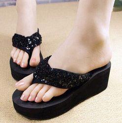 VSEN New slippers female beach sandals for women Rhinestone Crystal wedges platform elevator slip-resistant paillette 5 colors
