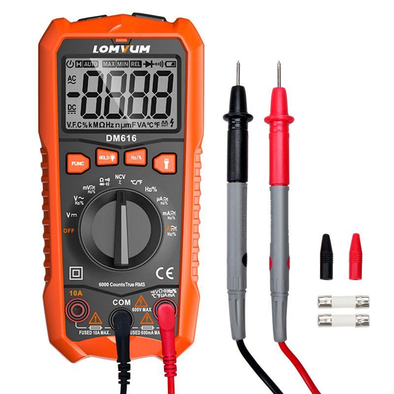 Multimètre numérique LOMVUM NCV 6000 compte de mesure automatique de la tension ca/DC rétro-éclairage Flash grand écran testeur ohms Polimetro