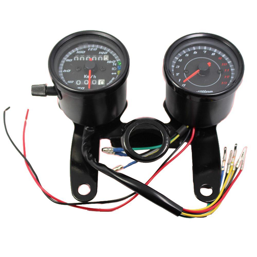 Indicateur de vitesse moto universel compteur kilométrique jauge 0 ~ 160 km/h 13000 tr/min LED rétro-éclairage tachymètre ensemble noir argent Instrument