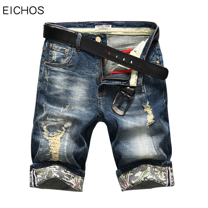 Hot Selling Summer Casual <font><b>Thin</b></font> Short Homme De Marque 2018 Korean Youth Mens Denim Shorts Elasticity Distressed Skinny Jeans Men