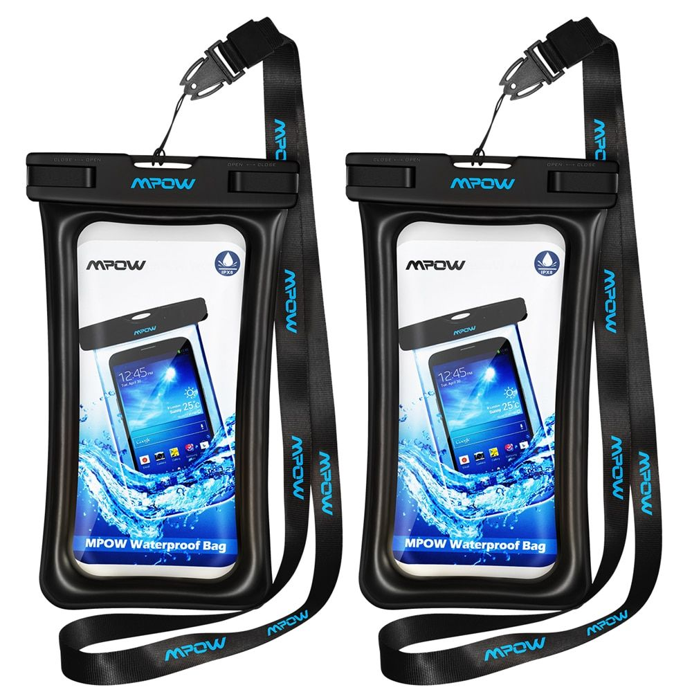 Mpow 2 PCS D'origine Flottables IPX8 Boîtier Étanche Dry Téléphone Pochette Sac effacer Cover pour iPhone 7 Plus/Huawei P9 etc 5.7 pouces