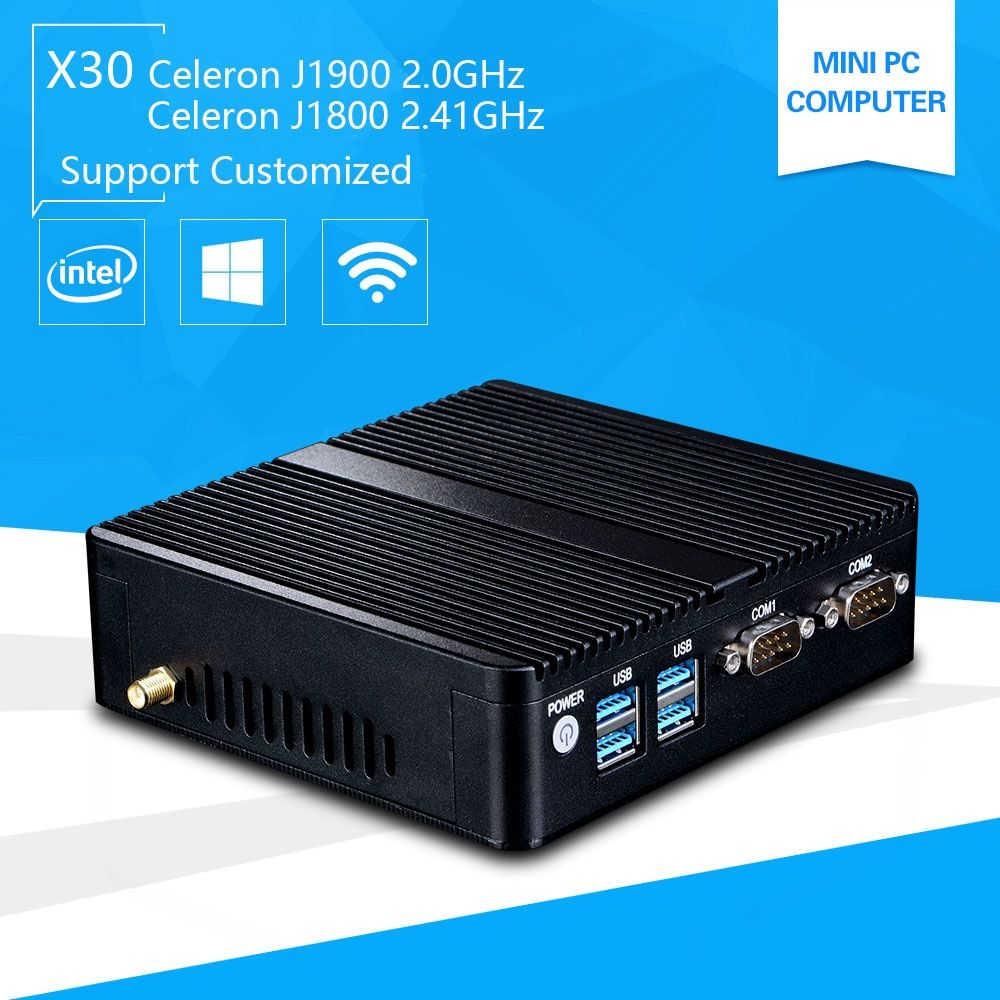 Mini Pc with Windows 10 celeron 3755 J1800 Quad core J1900 2.41GHz Pentium 3805U Industrail Computer port PC 2*Lan port+2*RS232