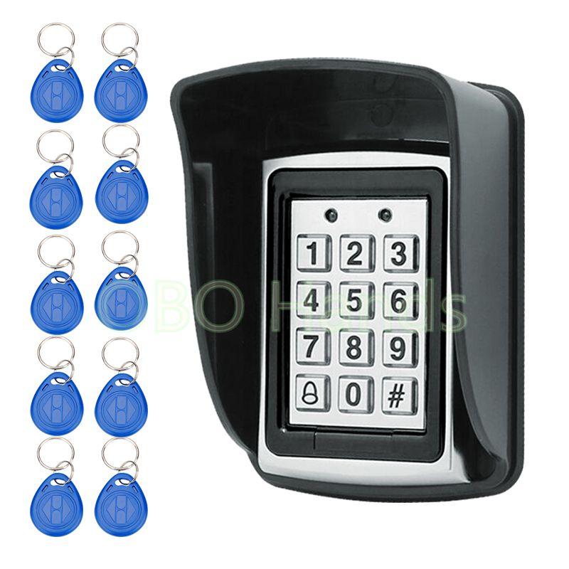 Clavier numérique imperméable de lecteur de carte du contrôle d'accès 125KHz RFID en métal avec 10 clés avec la couverture de pluie pour le système de contrôle d'accès de porte
