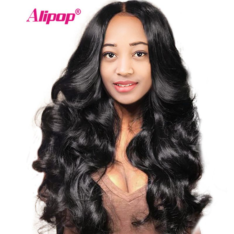 Brazilian Lace Front Human Hair Wigs For Black Women Full ALIPOP Body Wave Wigs Remy Lace Front Wig With Baby Hair Pre Plucked