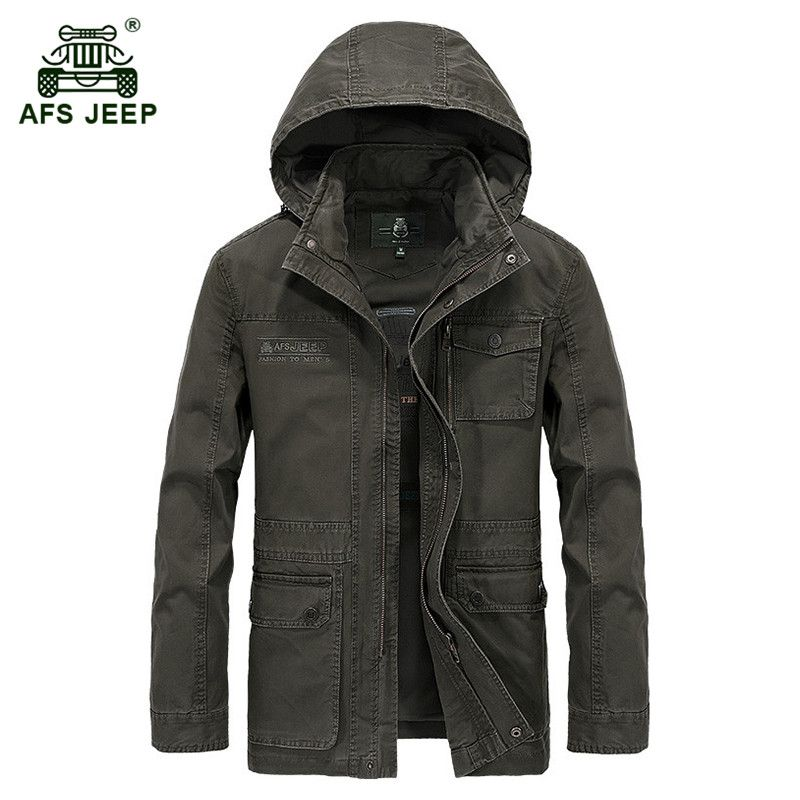 AFS JEEP 2017 Military quality plus size M-4XL men's autumn casual brand 100% cotton jacket coat spring man hooded jackets coats