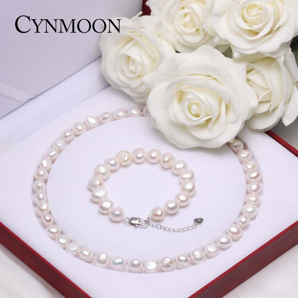 Naturel D'eau Douce Baroque Perle Ensembles de Bijoux AAAA Qualité Perle Collier Bracelet Bijoux pour Femmes Mère Jour Cadeau