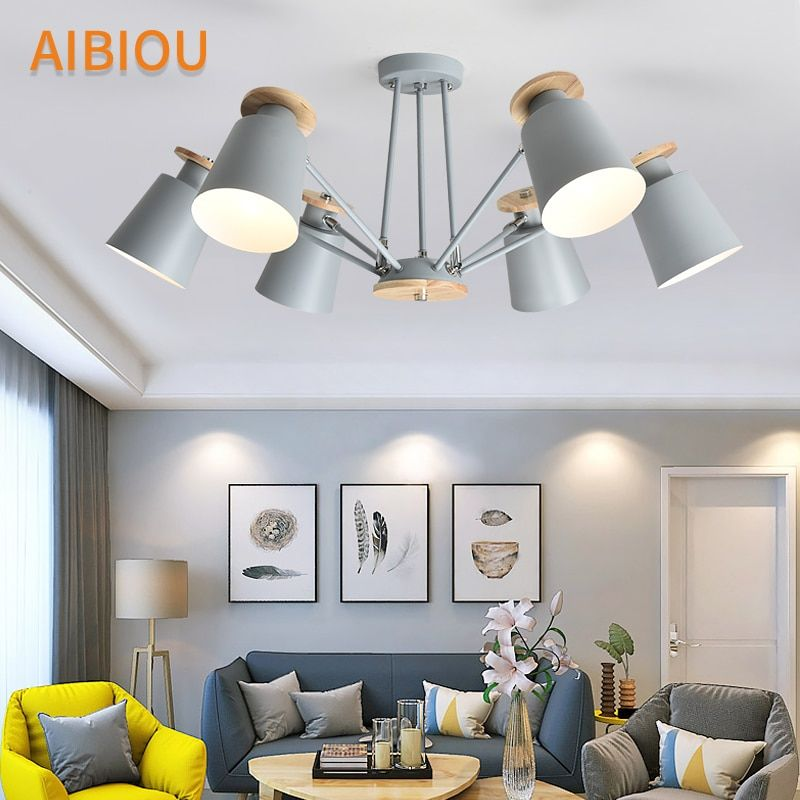AIBIOU Nordic LED Chandelier With Metal Lampshades For Living Room Adjustable White Chandeliers Modern E27 Ceiling Lustre