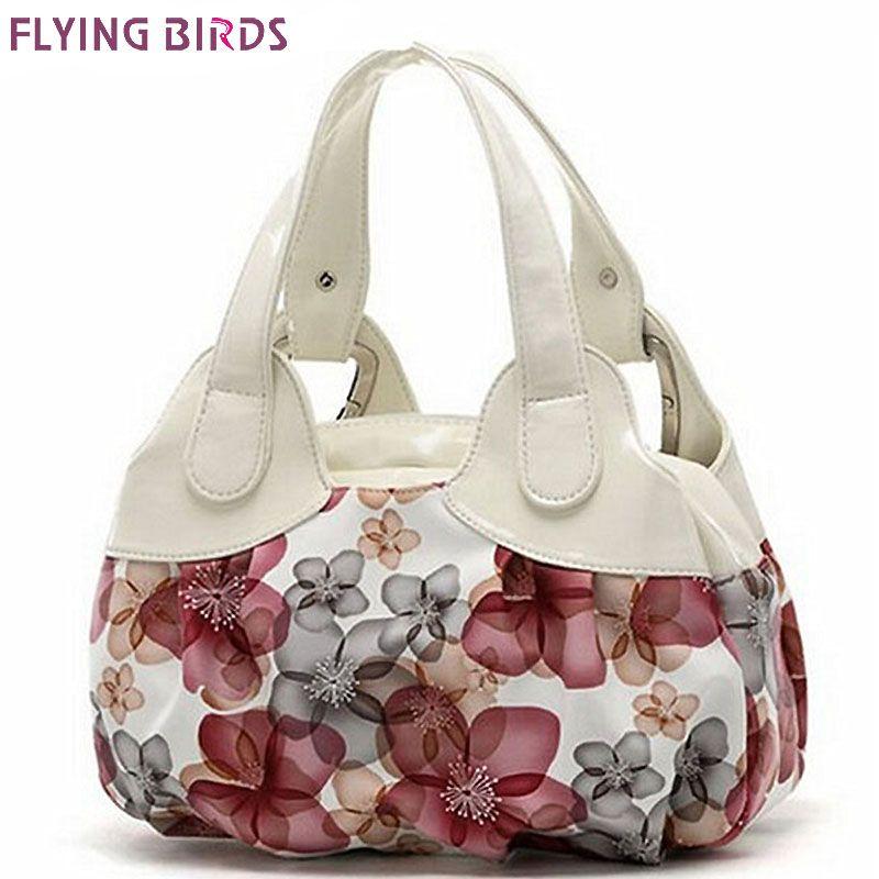 FLYING BIRDS! femmes sacs à main en cuir Populaire fleur motif Femmes sacs à main d'épaule sac de dames femmes sacs bolsas fourre-tout SH462