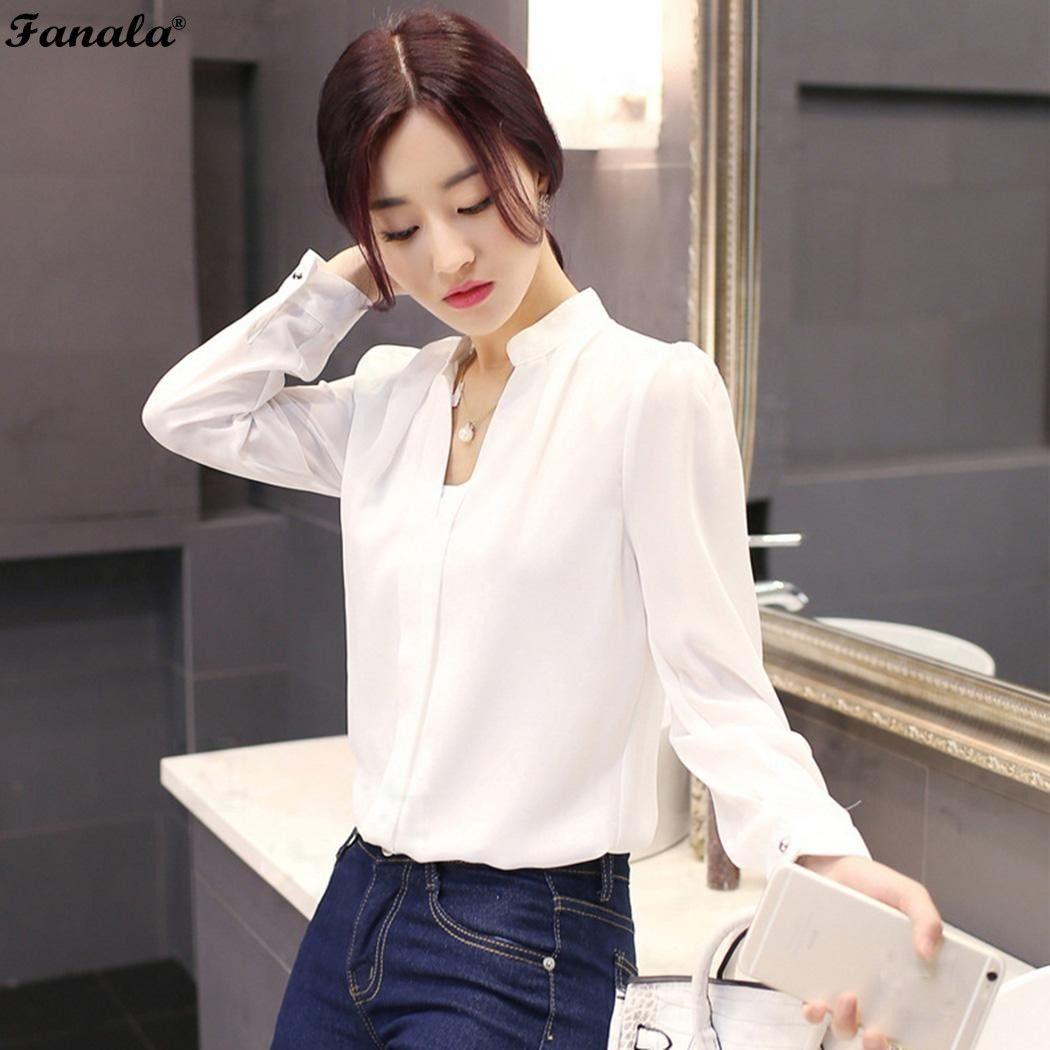 Camisa de otoño mujer blusa blusas Mujer 2018 Camisas casual mujeres Blusas v-cuello de manga larga sólido blusa de la gasa mujeres top