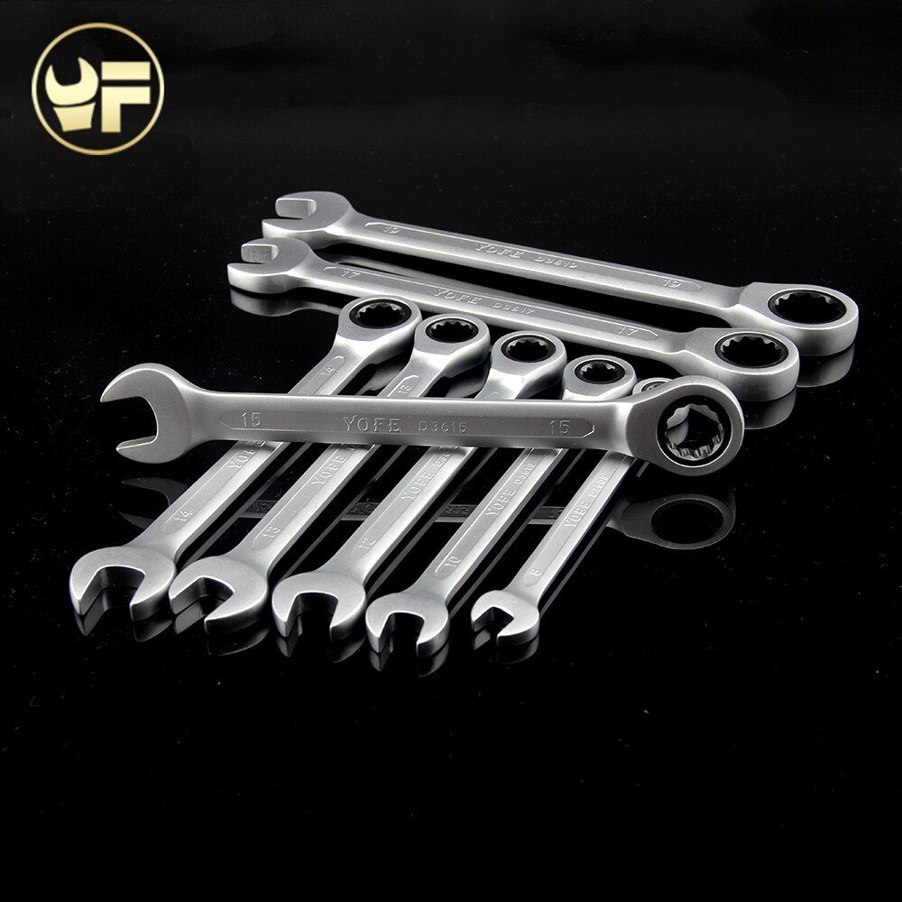 YOFE 8,10,12,13,14,15,17,19mm Ratchet Spanner Combination wrench a set of keys gear ring tool ratchet handle Chrome Vanadium