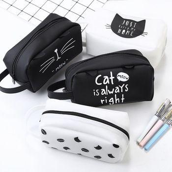 Large Capacity Cute Kawaii Pencil Case Lovely Cartoon Cat School Pencil Bag School Kids Pencil Box Animals Supply Stationery