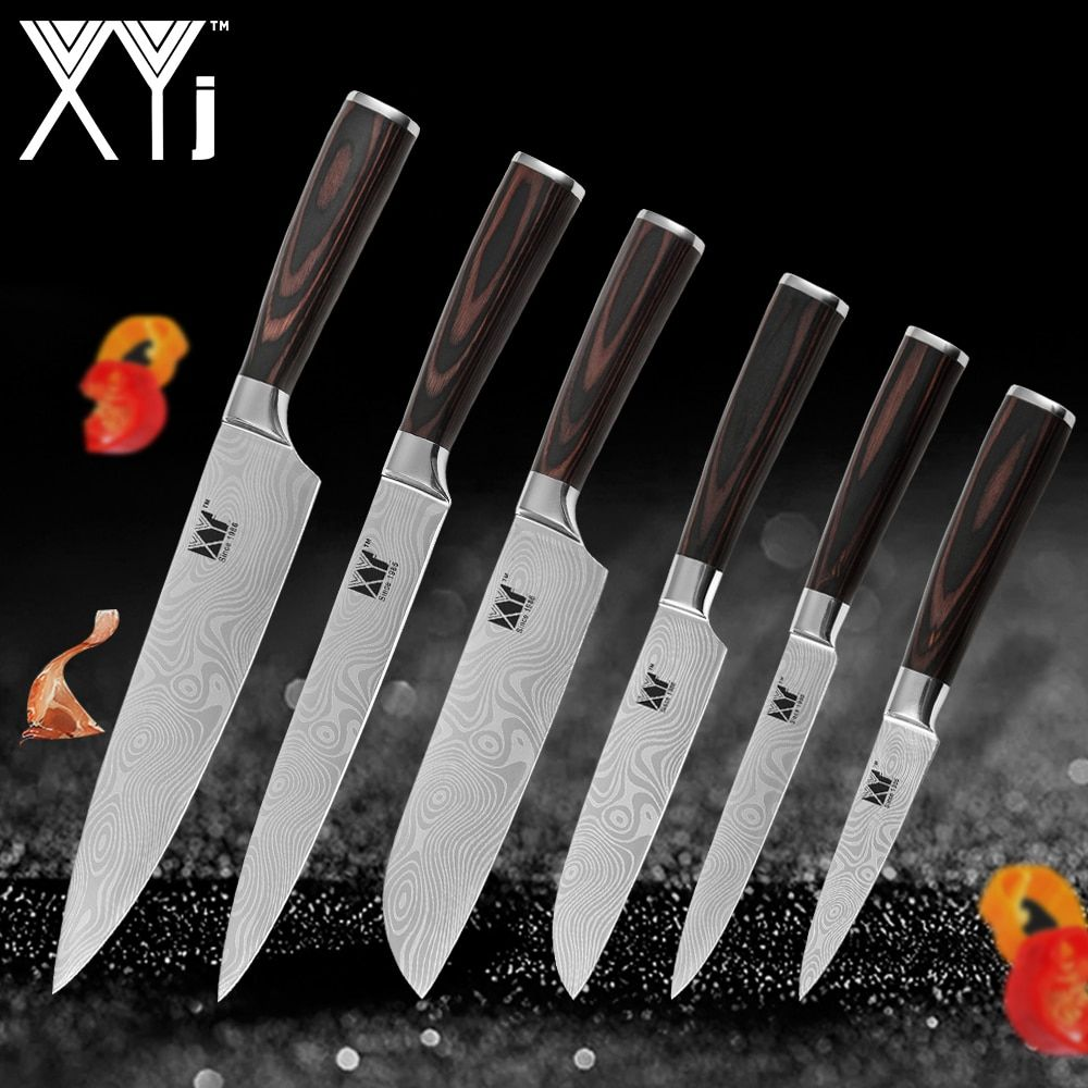 XYj New Arrival 2018 Kitchen Cooking Stainless Steel Knives Tool Fruit Utility Santoku Chef Slicer Damascus Veins Kitchen Knives