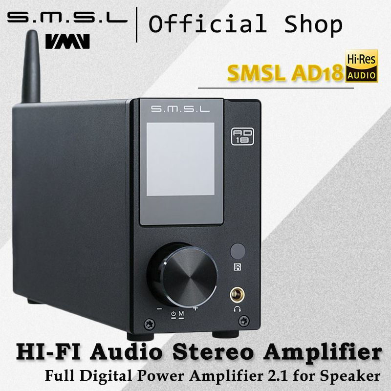SMSL AD18 HI-FI Audio <font><b>Stereo</b></font> Amplifier with Bluetooth 4.2 Supports Apt-X,USB DSP Full Digital Power Amplifier 2.1 for Speaker