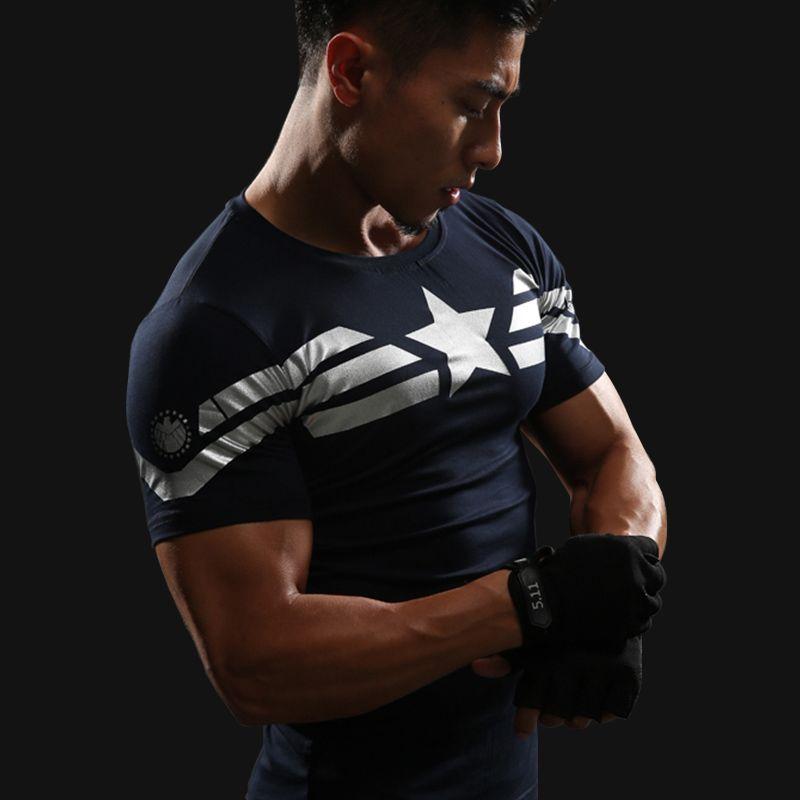 Captain America 3D T Shirt Hommes Fitness Compression Shirts Tops Mâle Impression Super-Héros Superman punisher Crossfit Anime T-Shirts