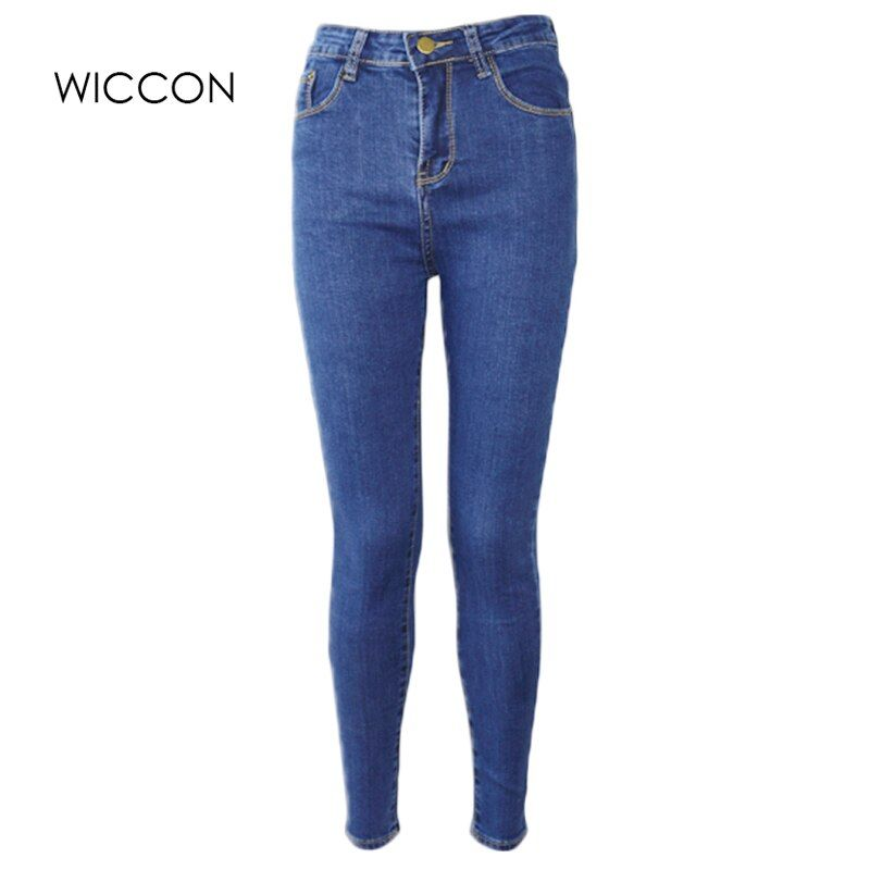 <font><b>Slim</b></font> Jeans For Women Skinny High Waist Jeans Woman Blue Denim Pencil Pants Stretch Waist Women Jeans Black Pants Calca Feminina