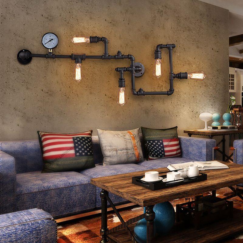 3 farbe Dampf punk Loft Industriellen eisen rost Wasser rohr retro wand lampe leuchte wand lichter E27 LED für wohnzimmer zimmer schlafzimmer bar
