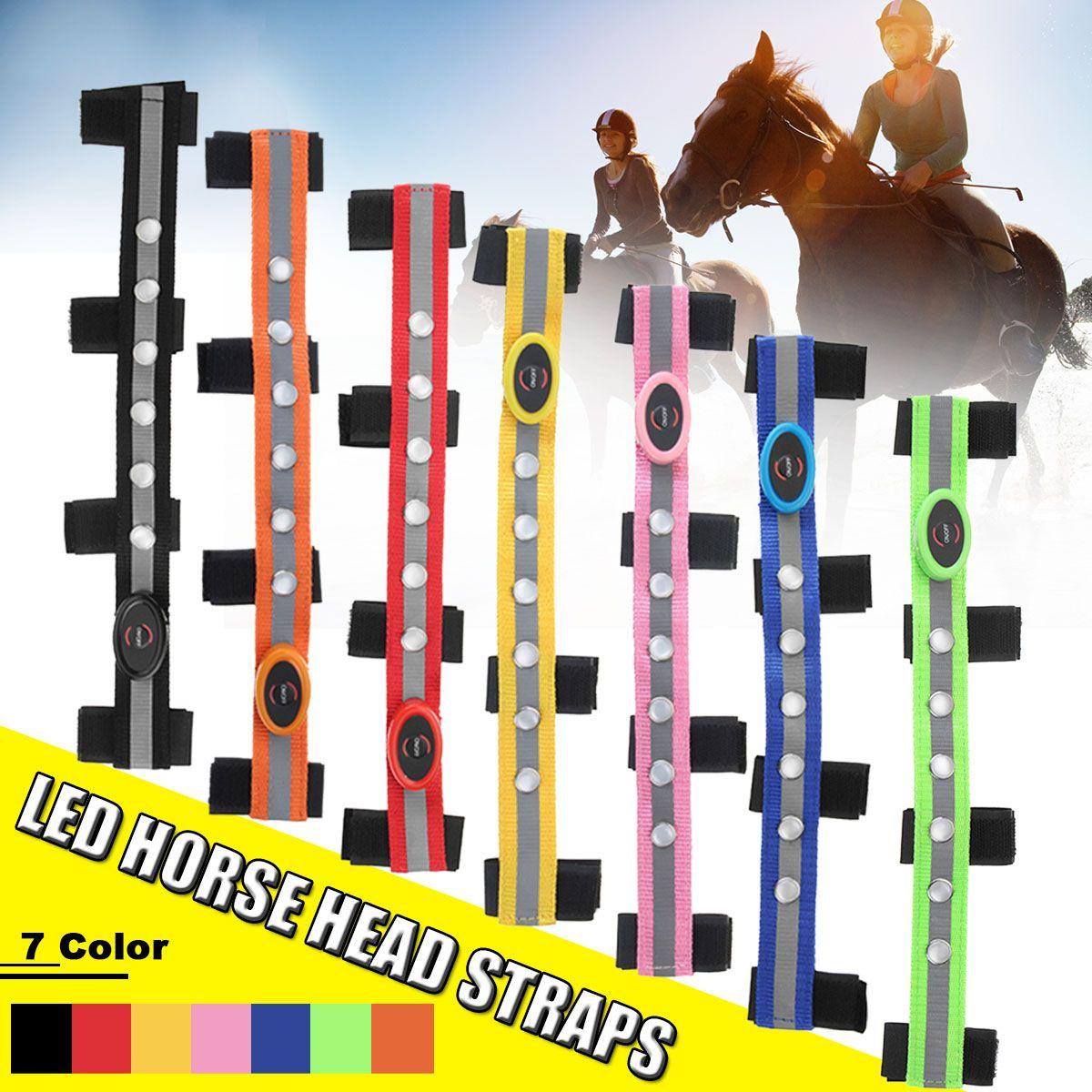 LED Tête de Cheval Sangles Nuit Visible Paardensport Équitation Multicolore En Option Cuirasse De Cheval Décoration Équitation Bande