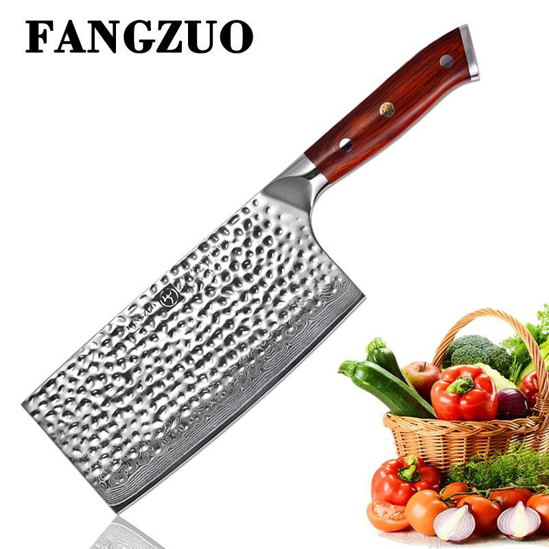 FANGZUO 7 zoll Damaskus Stahl Hacken Küche Messer VG10 Edelstahl Palisander Griff Handgemachte Chinesische Hackmesser Messer