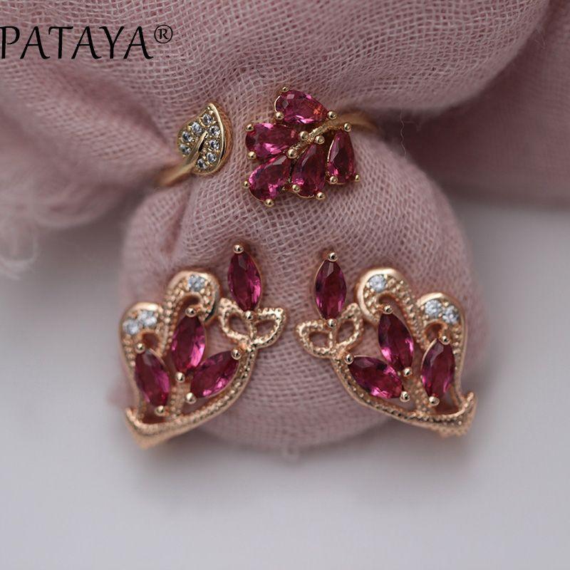 PATAYA New RU 585 Rose Gold Drop Earrings Up Open Rings Sets Women Rose Red Petal Natural Zircon Wedding Jewelry Original Design