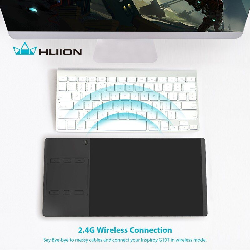 Huion <font><b>INSPIROY</b></font> G10T New Digital Tablet Wireless Graphic Drawing Tablet Pen and Finger Touch Tablet With a Drawing Glove Gift