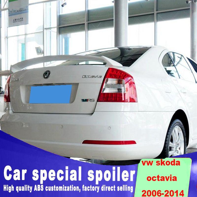 Fixed punching installation for 2006 to 2014 Volkswagen VW SKODA Octavia rear trunk sings spoiler spoiler by white black primer