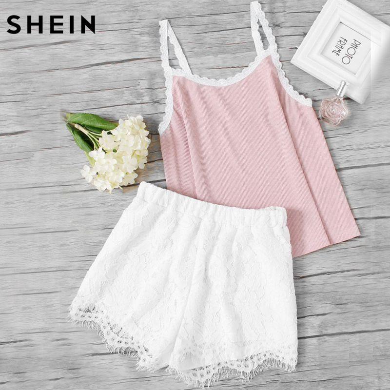 SHEIN Sleeveless Pajamas Set for Women Pink Spaghetti Strap Rib Knit Cami Top and White Lace Shorts Pajama Sets