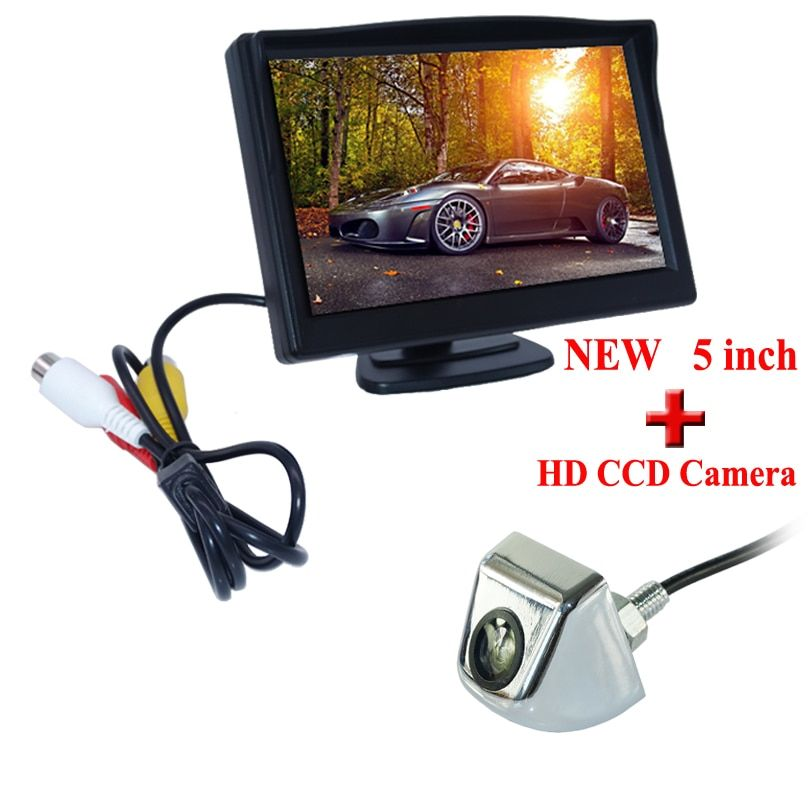 Hot Sale! 800*480 4.3 Inch HD Color TFT LCD Screen Rear View Camera Monitor 2 AV Video Input Car Reverse Camera Promotion