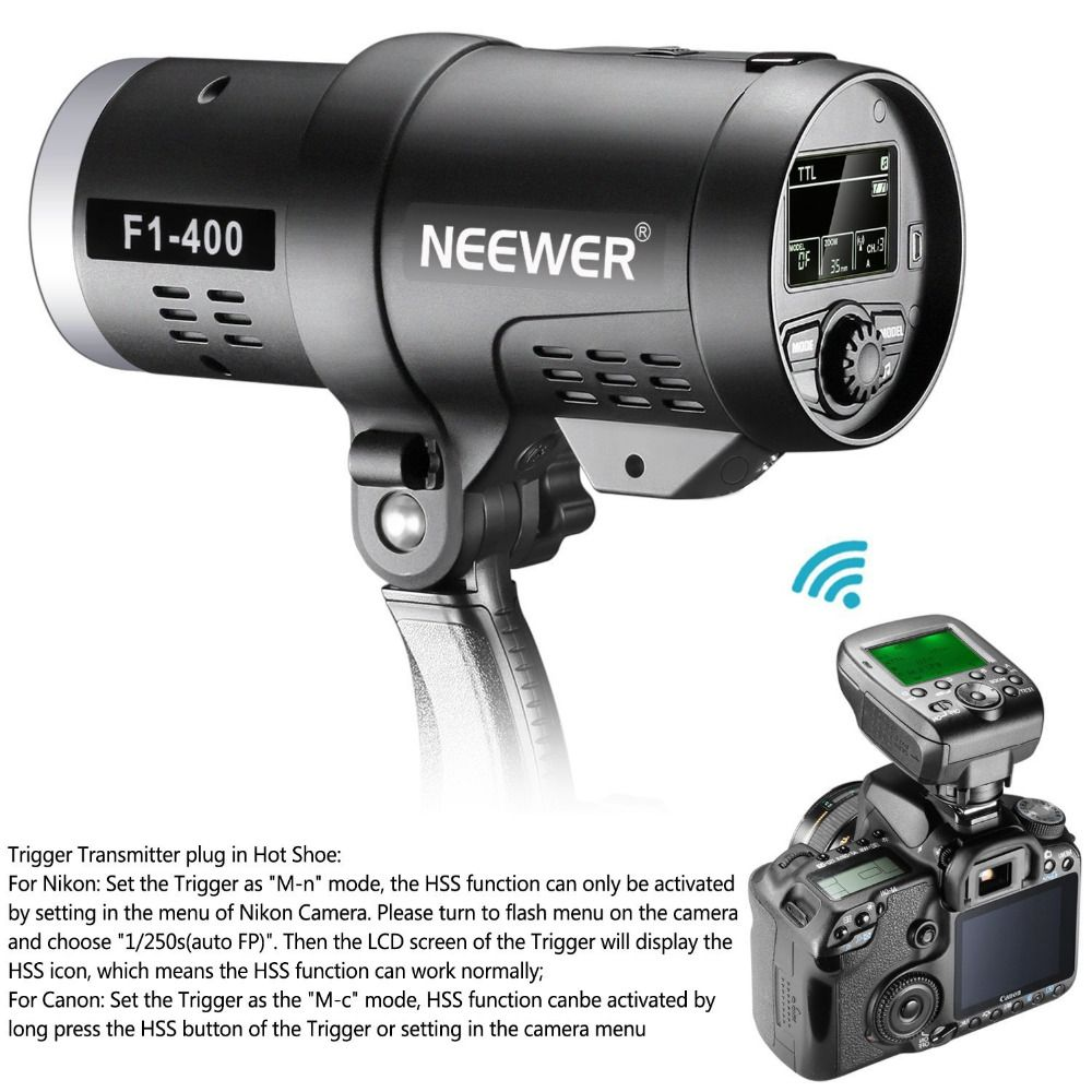 Neewer Dual TTL Outdoor Flash Strobe Light for Canon Nikon DSLR Camera,with 2.4G Wireless Trigger+3200mAh Rechargeable Battery