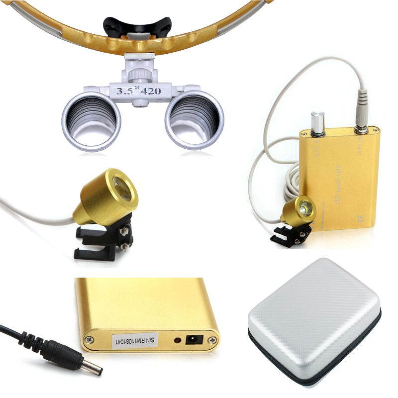 Dental 3.5X Surgical Medical Binocular Loupes 420mm work distance Optical Glass Loupe+LED Head Light +silver Carry Case