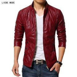 Pria Musim Semi Jaket Kulit PU Slim Fit Jaket Kulit Buatan Sepeda Motor Biker Mantel Pria Hitam Merah Khaki Plus Ukuran 4XL 5XL 6XL