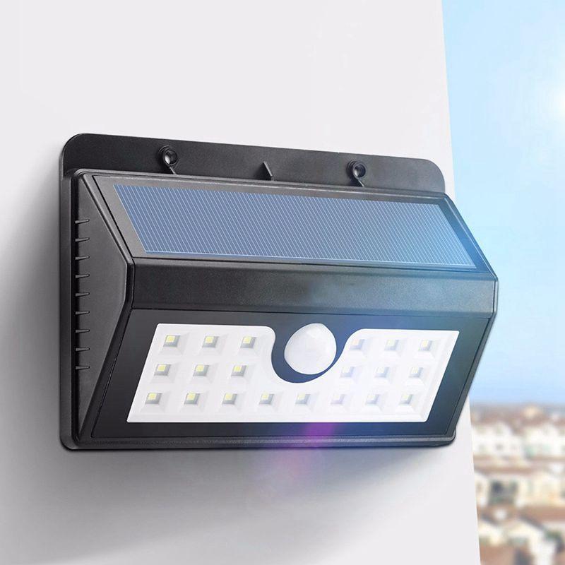 Wireless solar powered 20 led luz impermeable ip65 solar pir motion sensor de luz al aire libre cerca del jardín camino lámpara de pared