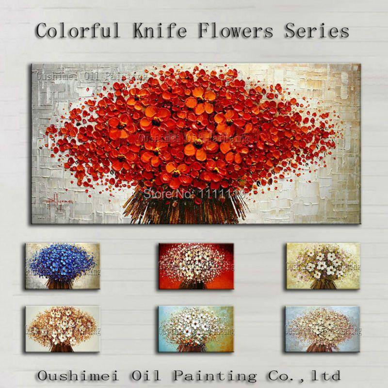 Peint à la main coloré fleur peinture à l'huile couteau peintures moderne abstrait photo mur photos pour salon toile peinture