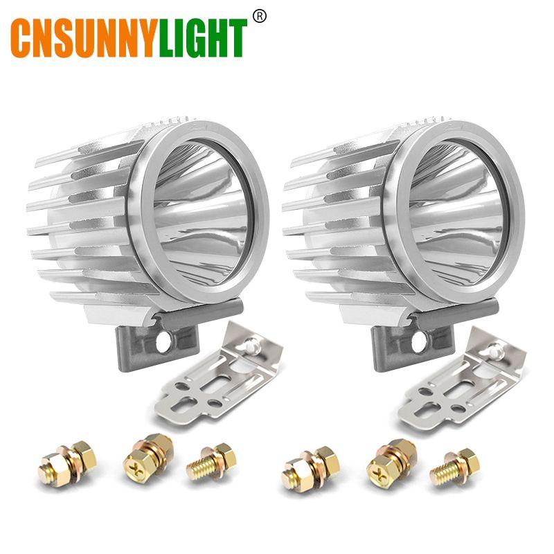 CNSUNNYLIGHT 2pcs Waterproof Motorcycle LED Spotlight Headlight 6W 1000Lm XML-T6 White Scooter/Bike Aluminum Fog DRL Headlamp