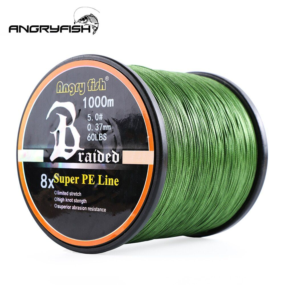 Angryfish vente en gros 1000 mètres 8x ligne de pêche tressée 8 couleurs ligne Super PE