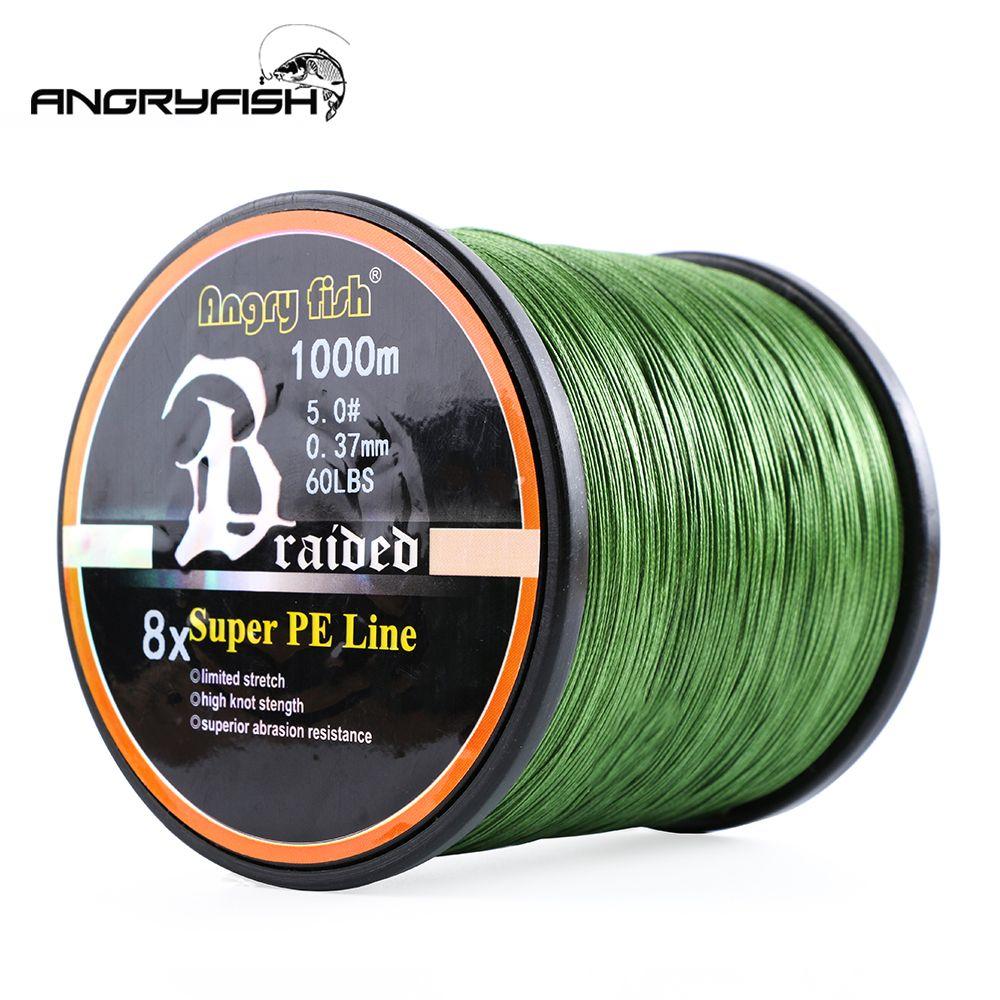 Angryfish vente en gros 1000 mètres 8x ligne de pêche tressée 11 couleurs ligne Super PE
