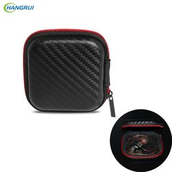 HANGRUI Protable Earphone Case For Headphones case Mini Fiber Zipper Storage Box Hard Bag Headset Case for SD TF cards Earphones