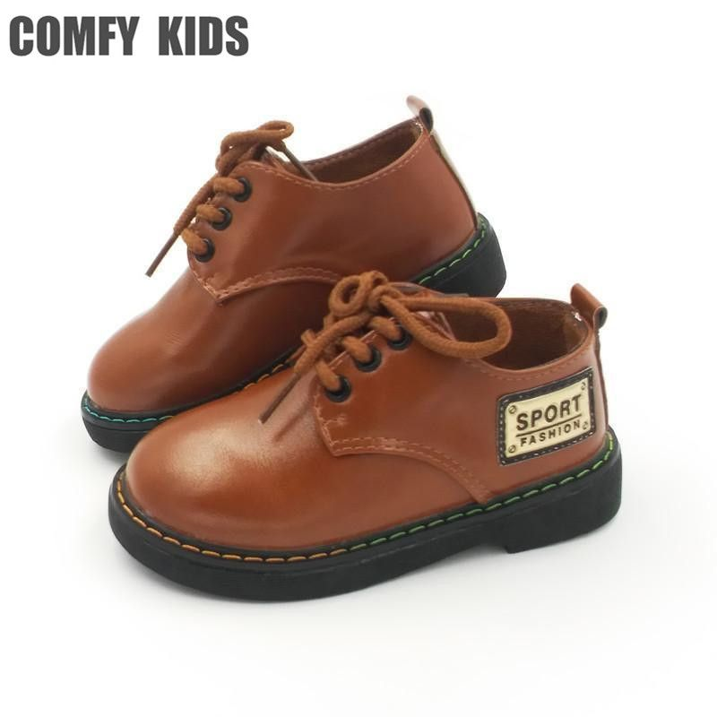 2018 New Fashion Boys Leather Shoes For Child Spring Leather Shoes Girls Flat With Size 21-25 Baby First Walkers Toddler Shoes