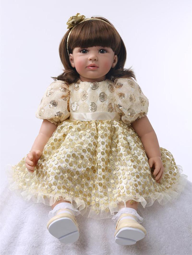 Pursue 24/60 cm Gold Dress Handmade Princess Baby Alive Doll Lifelike Reborn Baby Doll Girls Come with Dress Birthday Present