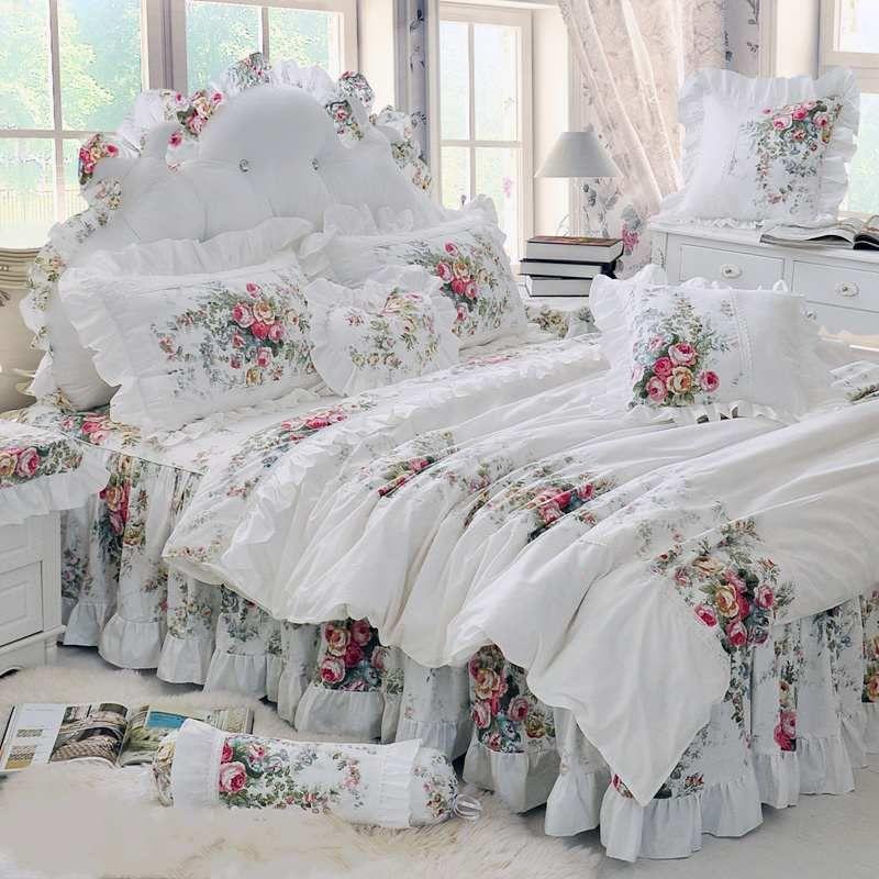 Pastoral Princess Beige Bedding Set Luxury 4/6pcs Printing Ruffles Duvet Cover Bed Skirt Bedspread Bedclothes Cotton Queen King