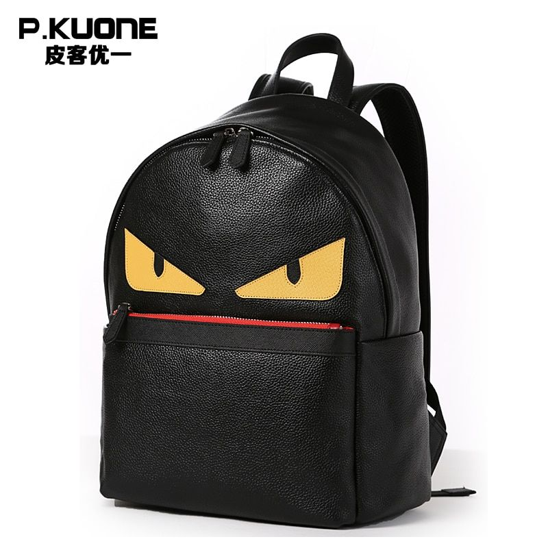 P.Kuone Brand Designer Genuine Leather Men And Women Backpack Perfect Quality Small Monster School Bag Laptop Bag For Youth
