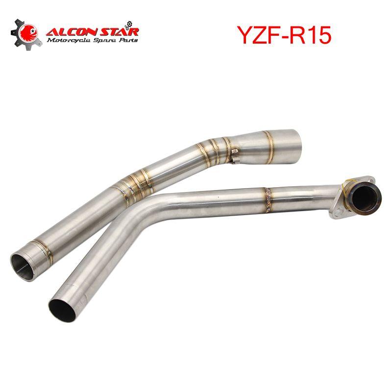 Alconstar-Silber/Blau Edelstahl Für Yamaha YZF R15 Rohr Header Rohr Link Vordere Auspuffrohr System Ohne schalldämpfer