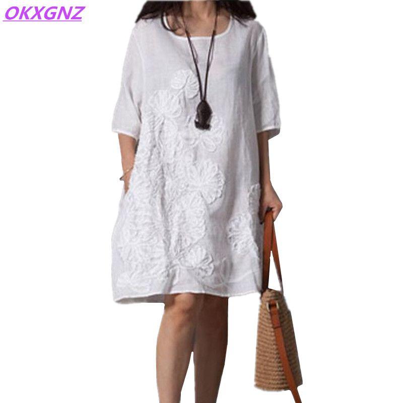 OKXGNZ coton lin robe femmes 2018 été nouveau Costume de mode broderie robe col rond manches moyennes lâche grande taille AH143