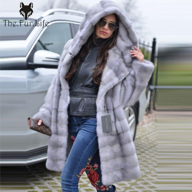 Neue Kommen Grau Luxus Nerz Pelz Mantel Mit Kapuze Für Frauen Warm Lose Mit Gürtel Natürliche Nerz Pelz Jacken Weibliche Große verkauf