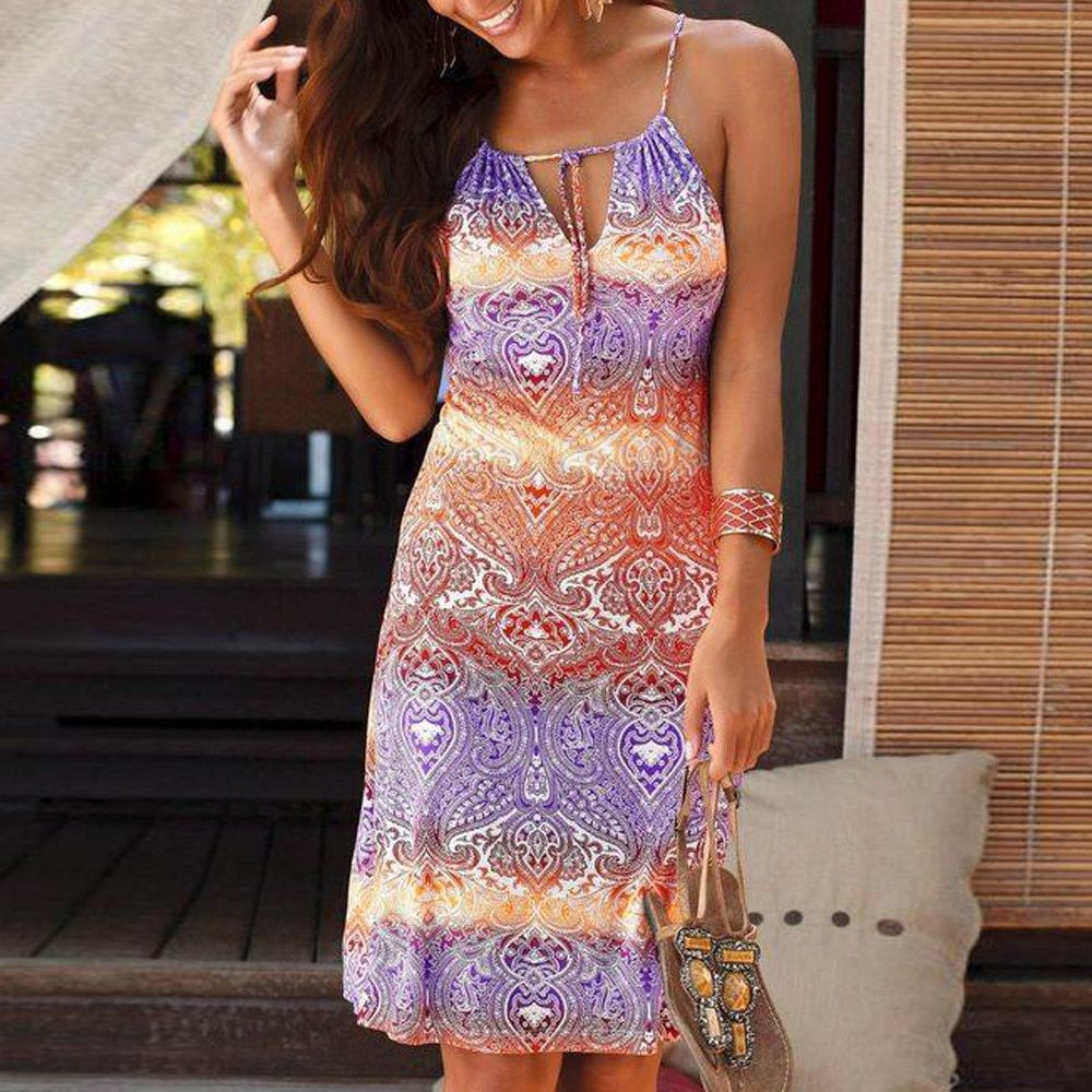 dress women summer plus size robe femme Halter Neck Boho Print Sleeveless Casual Mini Beachwear Dress