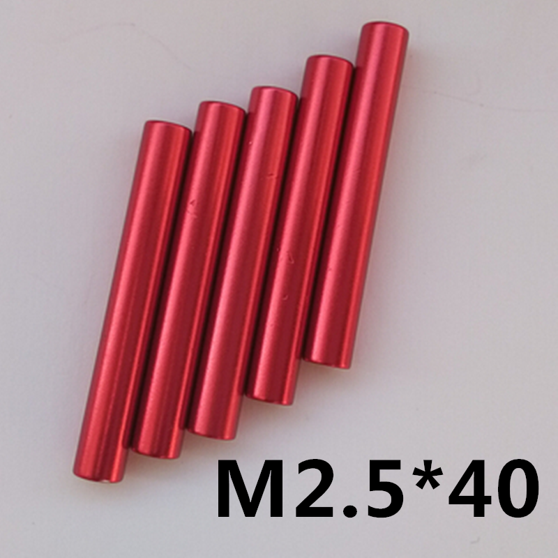 10pcs M2.5*40 Aluminum Standoff Spacer D=4mm Red Anodized Round Long Nut Aircraft Model Frame Support Double-Column Screw